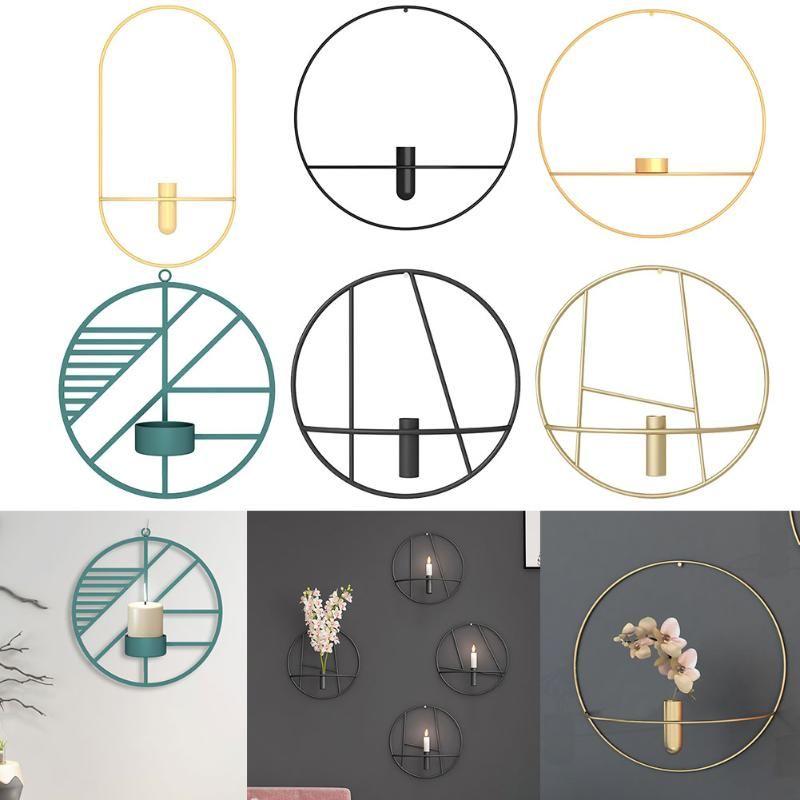 Art Moderne 3D Cercle Métal Bougeoir géométrique Candlestick Light Wall Hanging Décoration d'intérieur Artisanat Décoration de mariage
