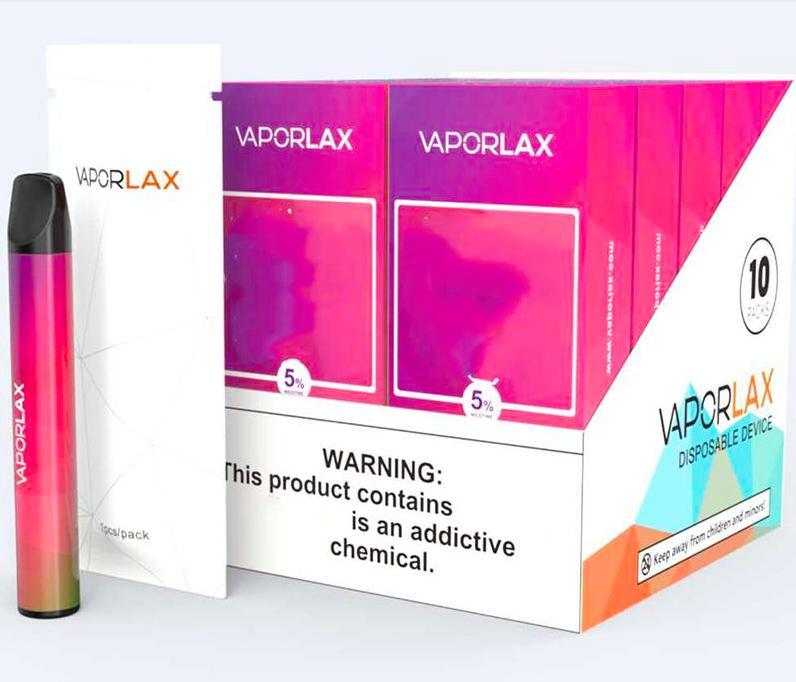 100% Original VaporLax Mate Disposable Device Pod Kit 500mAh Battery 3ml Pre-filled Cartridge 800 puff Vape Empty Pen 10pcs a display box