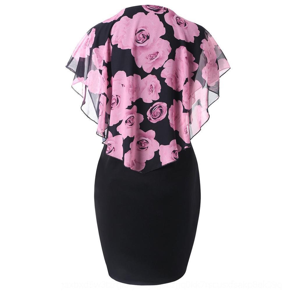 GQv3h Nouvelle rose mince robe Châle imprimé rose fourreau Nouveau châle imprimé robe fourreau mince