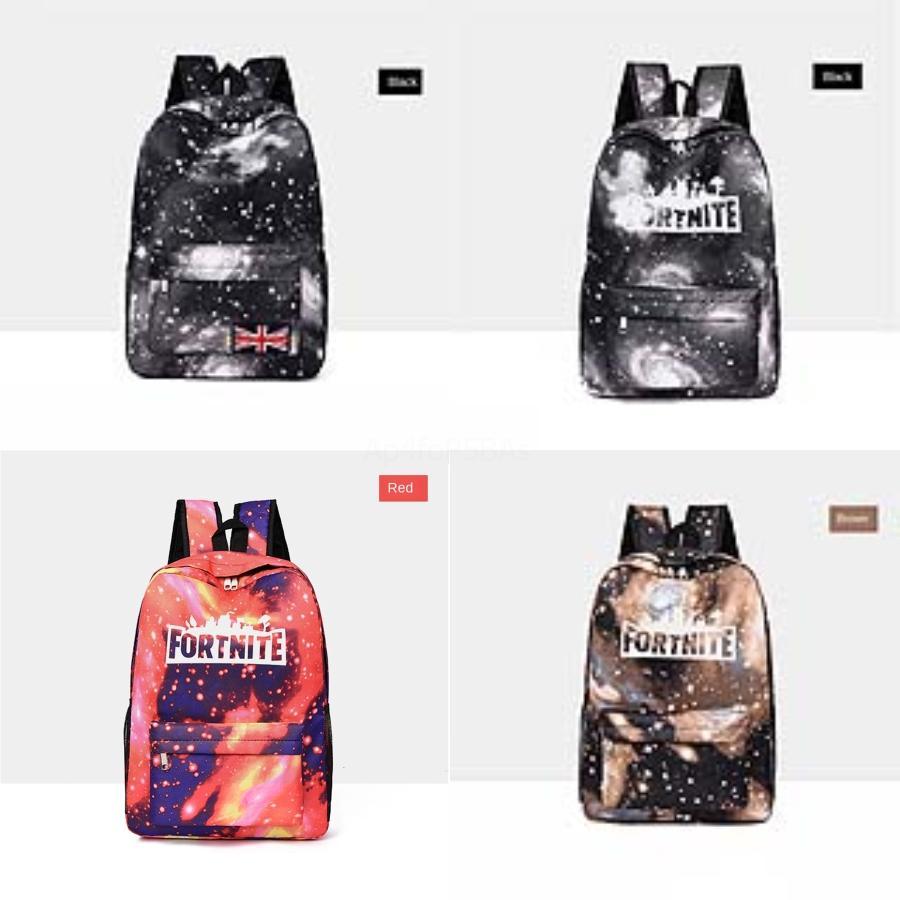 El cielo estrellado Fortnite Fortaleza Noche Mochila Mujeres Europa y los Estados Unidos PU de la manera de lona mini casual salvaje bolsas 2020 nueva marea bolsa de L # 290
