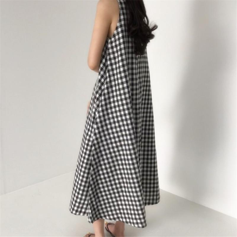 4xUnf 5503 Korean pattern 220 simple long style vest dress summer New loose sleeveless knee-high vest dress