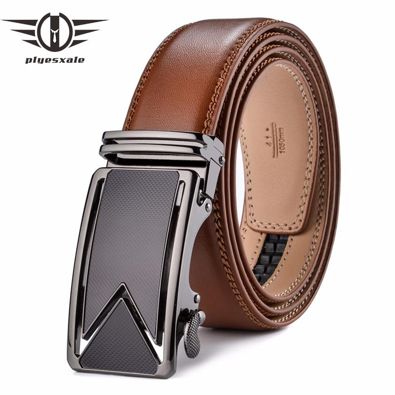 Plyesxale cinghia della pelle bovina del cuoio genuino per gli uomini di lusso cinghie con chiusura automatica Brown Black Cinturones Hombre B55
