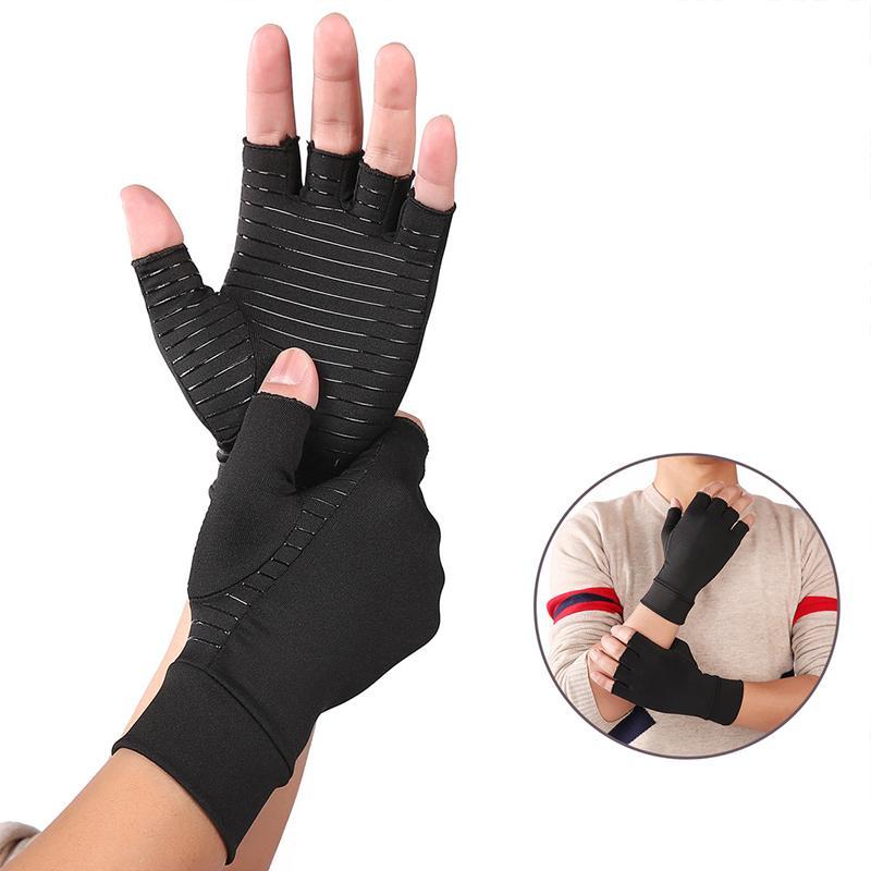 Gants Compression arthrite Half Finger Fitness réadaptation Soulagement Gants de pression de la douleur à la main pour le sport et le bureau