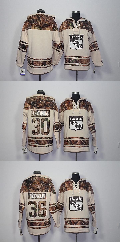 Men's New York Rangers #30 Lundqvist #36 Zuccarello Blank Beige Hooded Jerseys Hockey Hoodies Sweatshirts custom any name any number