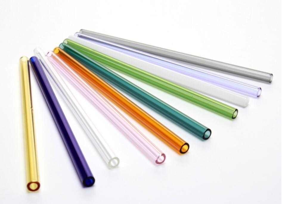 Venta al por mayor coloreados del cóctel vidrio borosilicato pajas Longitud 20cm 8mm estrecho de la nave de bebida de paja para el partido gratuito