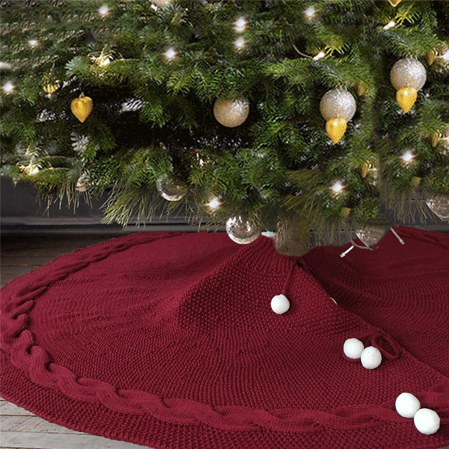 Árbol de Navidad de la falda 48 pulgadas Borgoña blanca de punto grueso rústico falda rizada para el árbol de Navidad decoración partido de los ornamentos JK1910