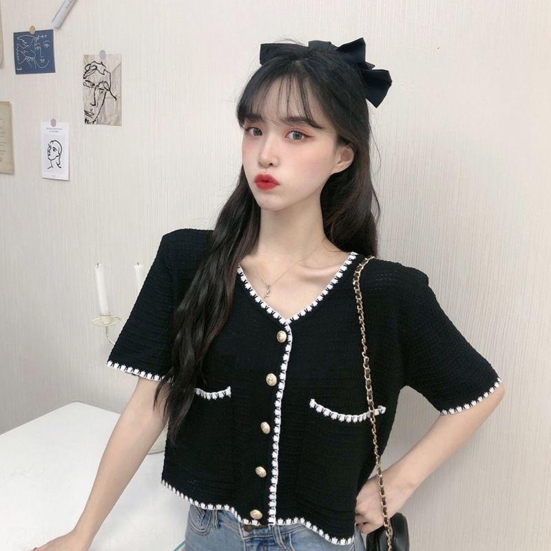 chaqueta corta de las mujeres Top géneros de punto superior 2020 nuevo estilo de Corea del estilo elegante de moda de manga corta de géneros de punto