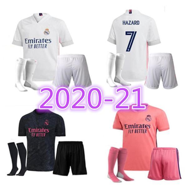 Acquista 2020 2021 REAL MADRID Maglie 20 21 HAZARD SERGIO RAMOS Jersey Di Calcio Uniformi Calzini Camicia Maglia BENZEMA Vinicio Camiseta Calcio A ...