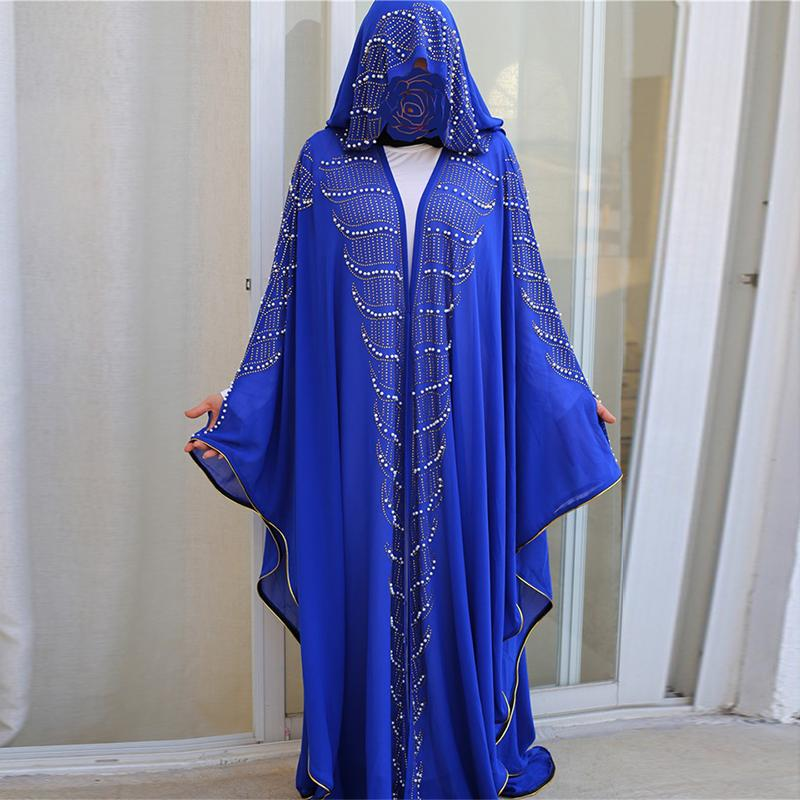 Siskakia Rhinestone Перл втулка летучей мыши Абай платье Негабаритный 2020 Новых исламского дубаи арабского мусульманских халатов Eid костюмы