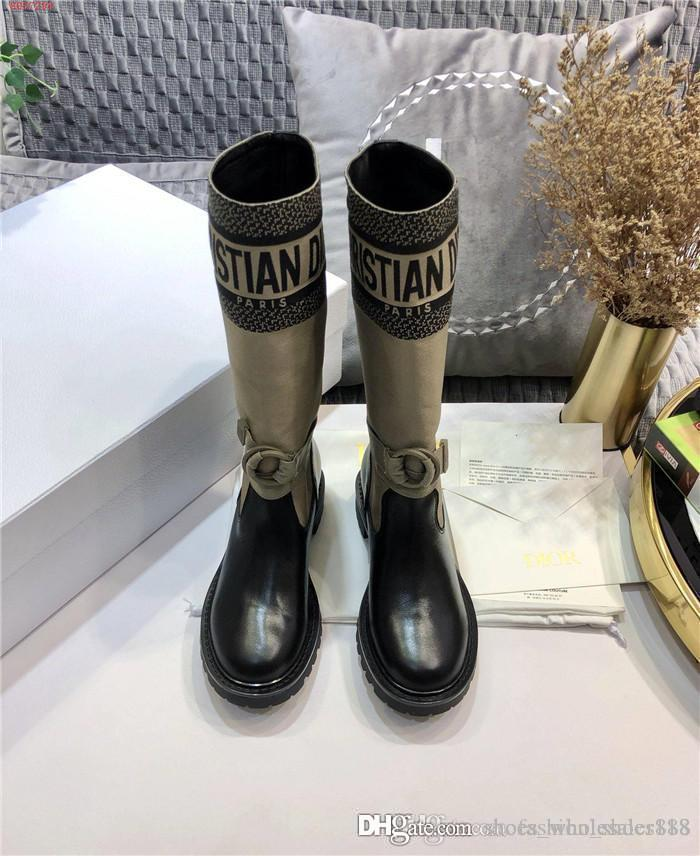 2020 Herbst Winter neue Kollektion khaki Leinwand Leder Socken Stiefel Ritter Dame niedrige Ferse dicke Sohlen Lederstiefel, mit Kastengröße 35-41