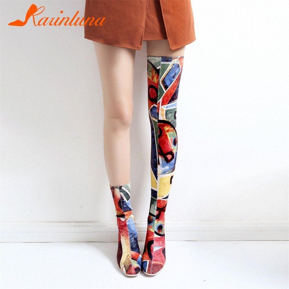 KARIN Imprimir Graffi sobre la rodilla Botas Damas Sexy Stretch de alta del muslo botas altas de las mujeres 2019 otoño zapatos de los tacones Mujer SVZ7 #