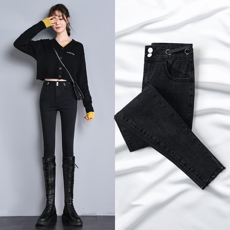 As mulheres negras para 2020 de New Style para o outono e inverno alta cintura fina estiramento Skinny Skinny calças lápis calças leggings Mulheres 0927