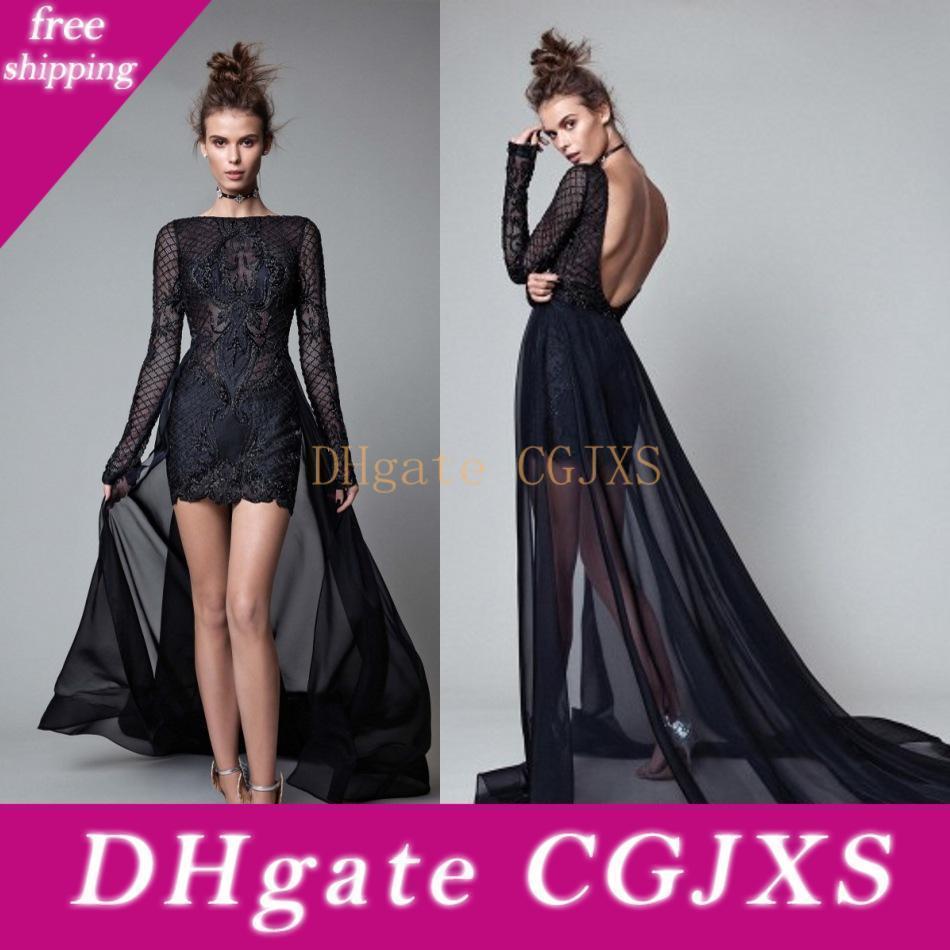 Berta 2019 robes de soirée Sheer Neck manches longues Robes de bal détachable train pour les femmes Custom Made Party Dress formelle