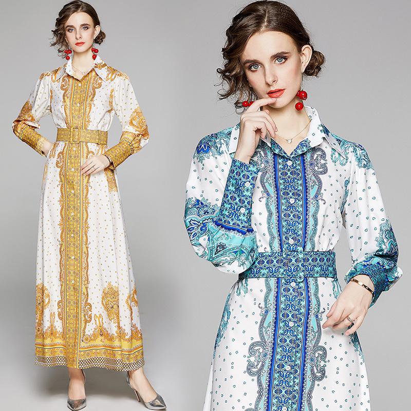 Yeni İlkbahar Yaz Sonbahar Sonbahar Pist Vintage Çiçek Baskı Yaka Kemer Fener Kol Kadınlar Bayanlar Casual Parti Plaj Maxi Gömlek Elbise
