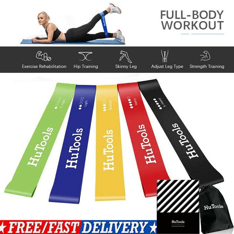 5 Pack Cinture yoga tensione della cinghia della fascia di gomma elastica Stretch Fitnesstraining