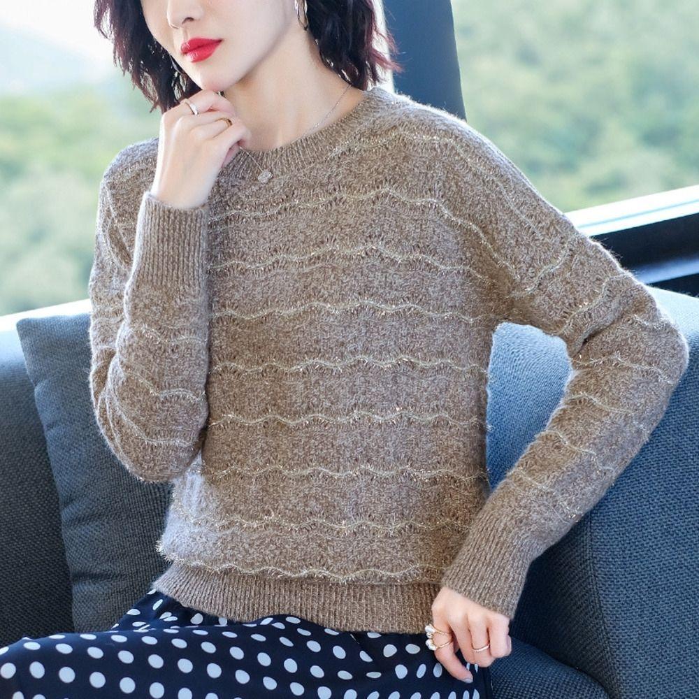 49YON j9Hjz Escudo corta floja otoño y el invierno ropa exterior 2020 nueva tapa de la manera de punto a rayas estilo occidental suéter de la tapa del suéter sh de base de mujeres