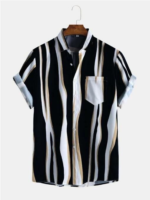 Summer Hot Sale Men Shirts Fashion Irregular Stripe Printed Shirts Men Short Sleeve Tops 3 Color Size S-5XL