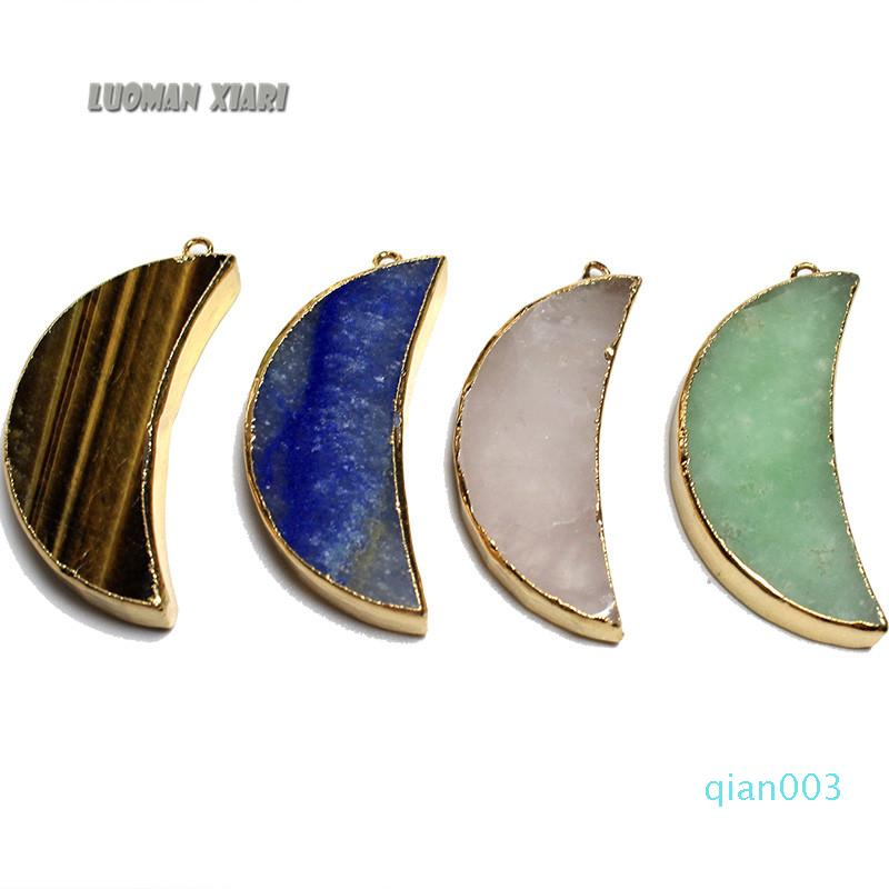 Atacado Pedra Natural pingente exclusivo 4 Tipo Lua Forma de Ouro pingente banhado Irregular Mulheres DIY colares para fazer jóias