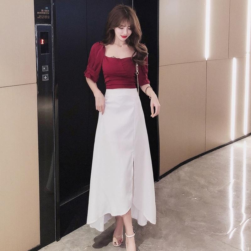 ropa xuN2g Xiaoyao nueva manera del verano del vestido 2020 para las mujeres coreanas del estilo de vestir traje de dos piezas de ajuste de la mujer delgada