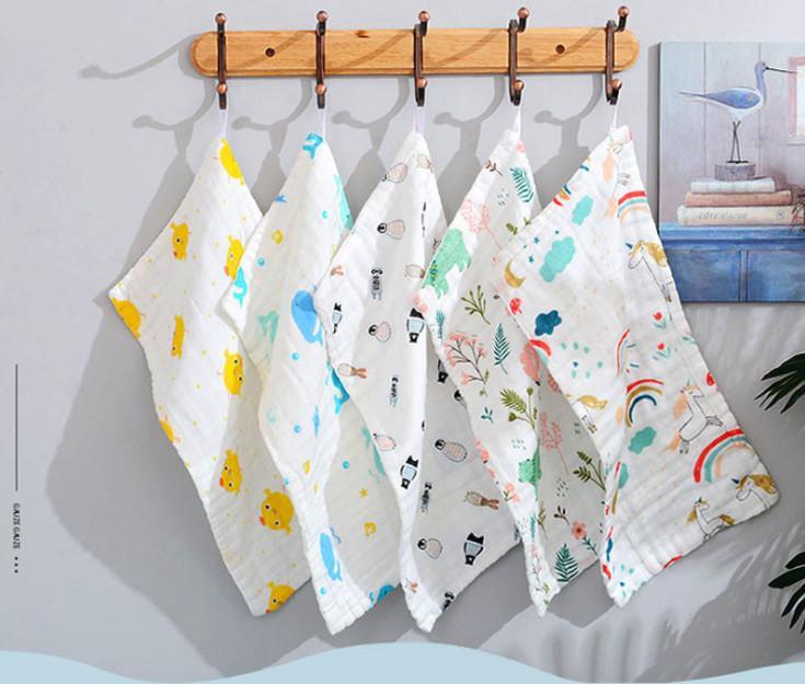 La dernière taille 25x25cm, 100 styles, serviette en coton à six couches, 6-couche gaze serviette de visage enfants, serviette enfants seersucker haute densité