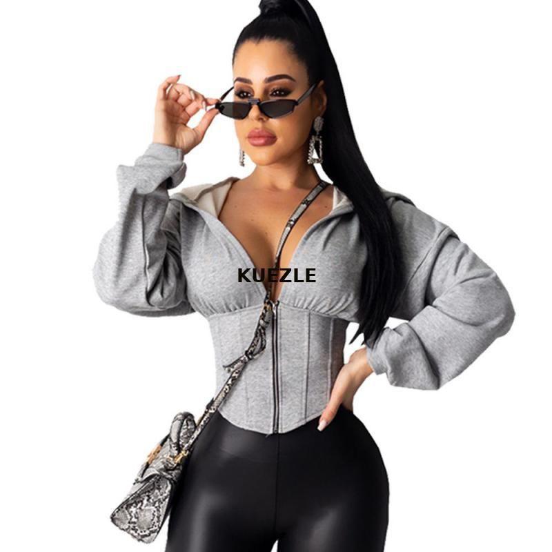 упругая сила Женщина куртки осень с длинным рукавом Толстовка Zip Casual Solid Толстовка Тонкого корсета Спорт Workout Gym черным пиджаком