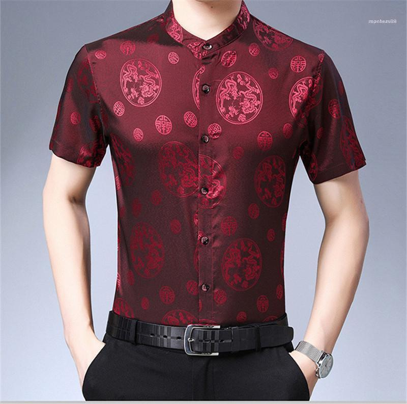 Short Sleeve Turn Down Collar Fashion Clothing Casual Business Loose Homme Apparel Chinese Style Mens Summer Designer Shirts