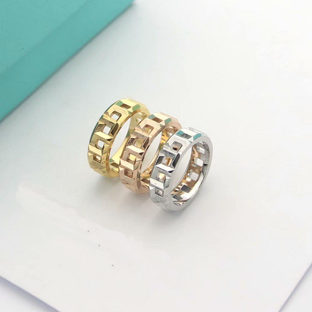 Fashion New Arrive Lady 316L Titanium steel T Letter Chain 18K Plated Gold Chain Rings 3 Color Size 6 - 9