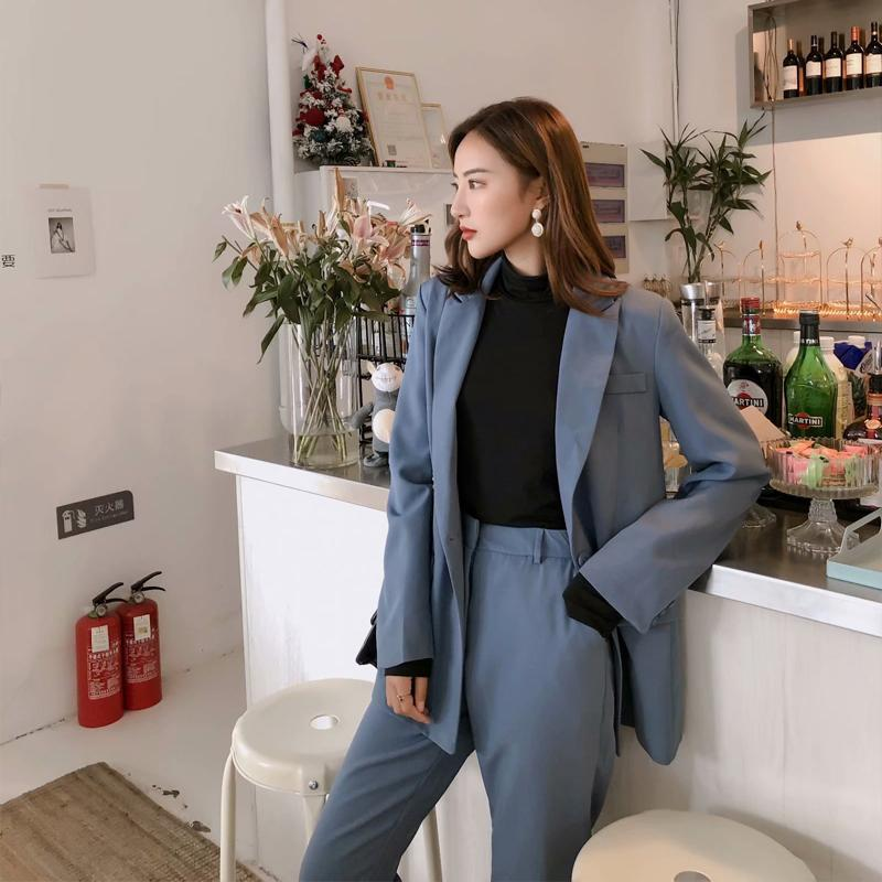 Frauen Trainingsanzüge RZIV Herbst Blazer Set Frauen Zweiteiler Anzug Lässig Massivfarbe Stiljacke und Hosen