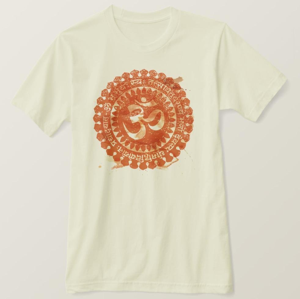 2020 Baskılı Erkekler Tişörtlü Pamuk Kısa Kollu Vintaged Om Mandala Tişört pas rengi Kadınlar tshirt