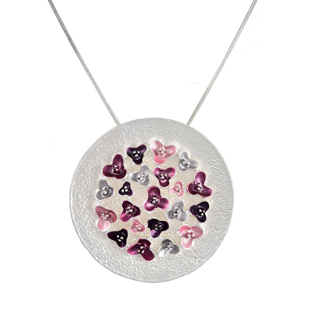 Women Necklace Big Geometry Pendant Charm Woman Silver Chain Necklace Enamel Flower Chokers Necklaces for Women Accessories Girls