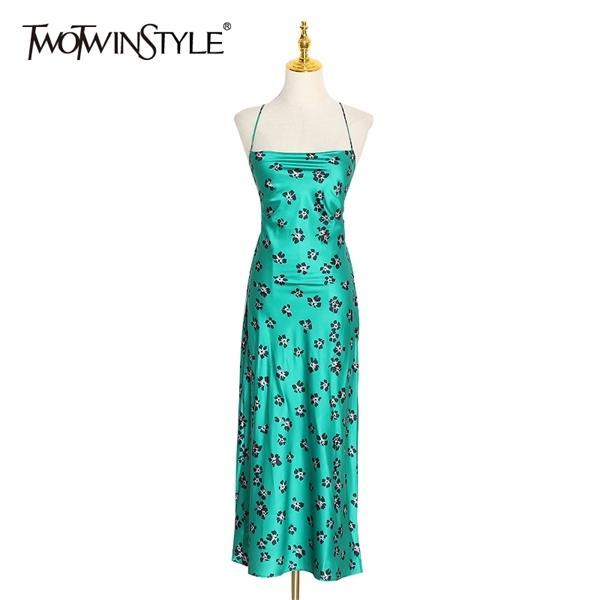 TwotWinstyle Baskı Polka Dot Elbise Kadınlar Için Spagetti Kayışı Straplez Kolsuz Yüksek Bel Elbiseler Kadın 2020 Bahar Moda 0924