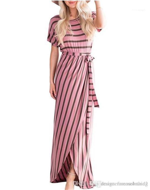 Lápis Vestidos com Caixilhos Moda Ladies Club Vestido Sexy listrado Imprimir Womens Maxi Vestidos Verão Crew Neck