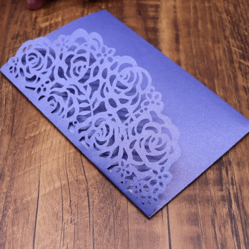 40pcs/pack Wedding Invitation Cards Carved Rose Pattern Laser Cut Cards Shinny Pearl Paper Lace Wedding Invitations Party