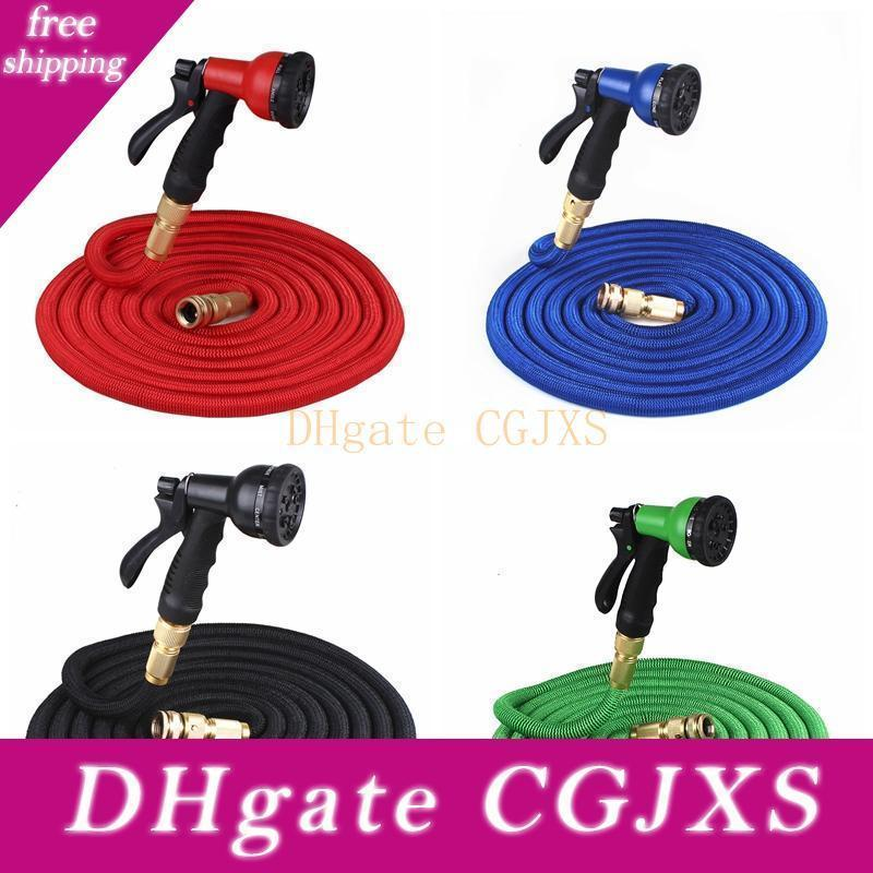 25ft Retractable Hose Natural Latex Expandable Garden Hose Garden Watering Washing Car Fast Connector Water Hose With Water Gun Bc Bh0756
