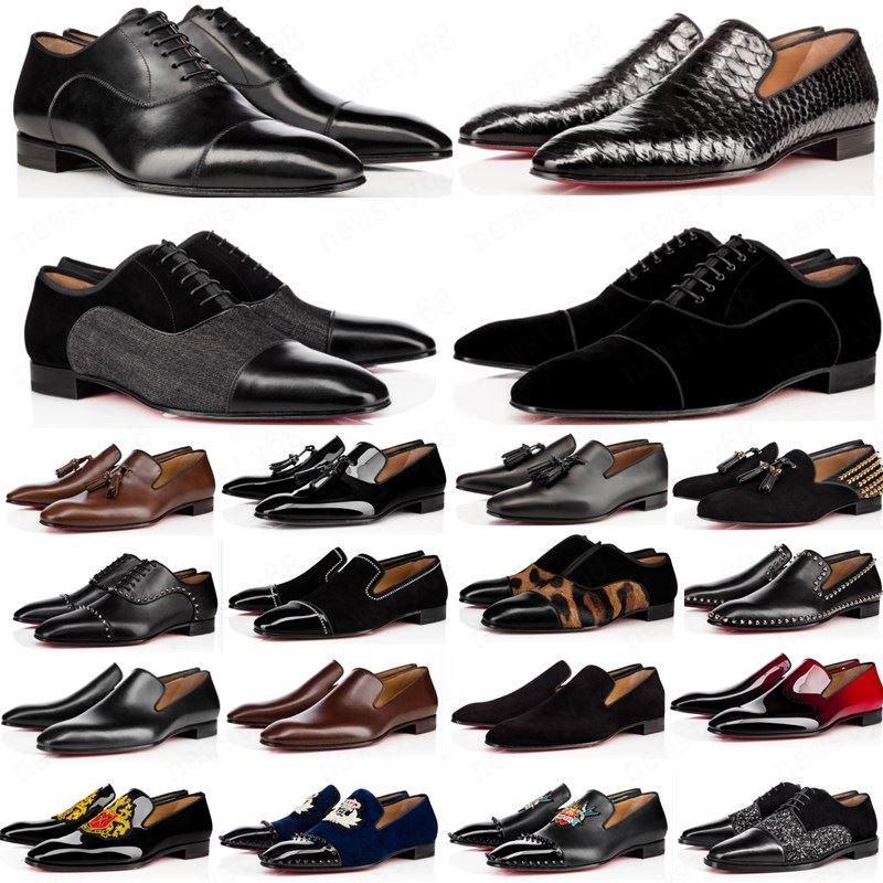 chaud 2020 chaussures hommes concepteur mocassins pic noir rouge Patent Slip en cuir sur robe de mariage appartements de chaussures pour la taille Business Party 39-47