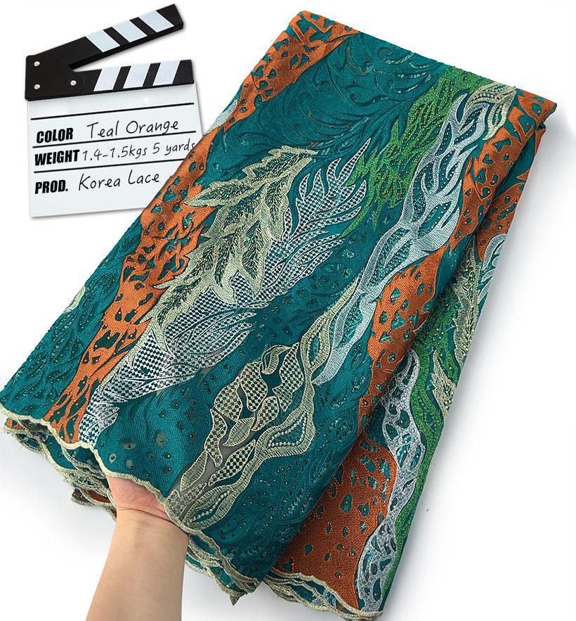 Corea del cordón de primera clase fantástica de costura de encaje francés tela africana suave suizo Buba de celebración aso EBI 5 yardas de alta calidad