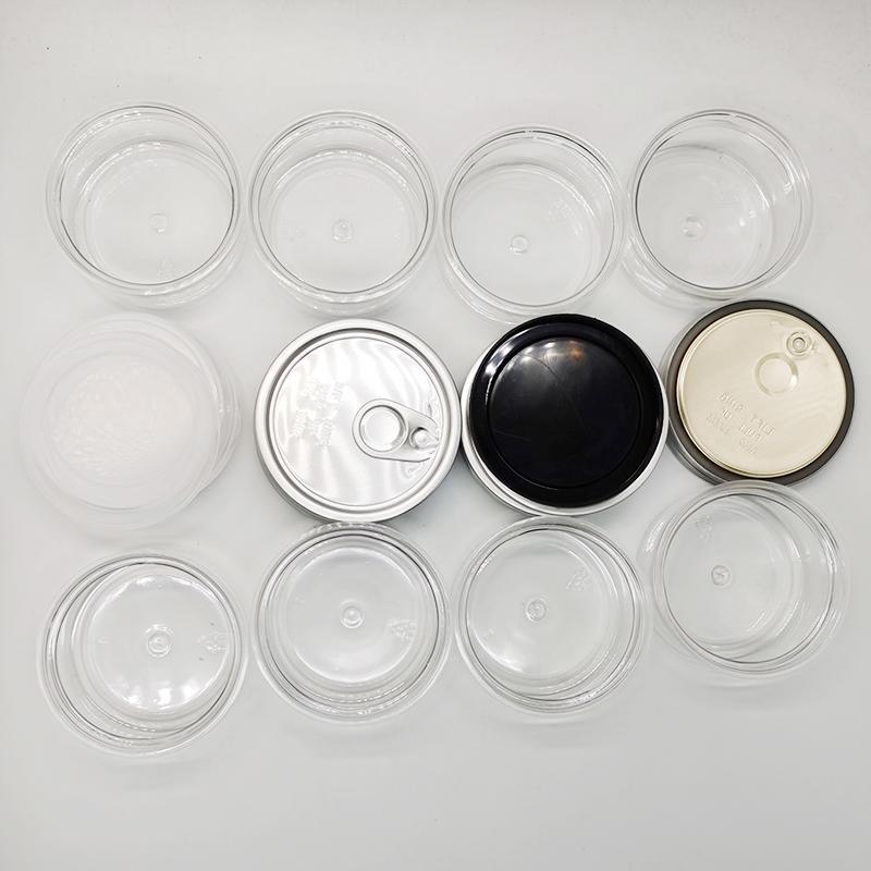 Las latas de estaño clara puede Food Packaging Food 3,5 g de flores de almacenamiento de envases 100 ML hermético Tapas de Inodoro fácil tirar botella de plástico transparente
