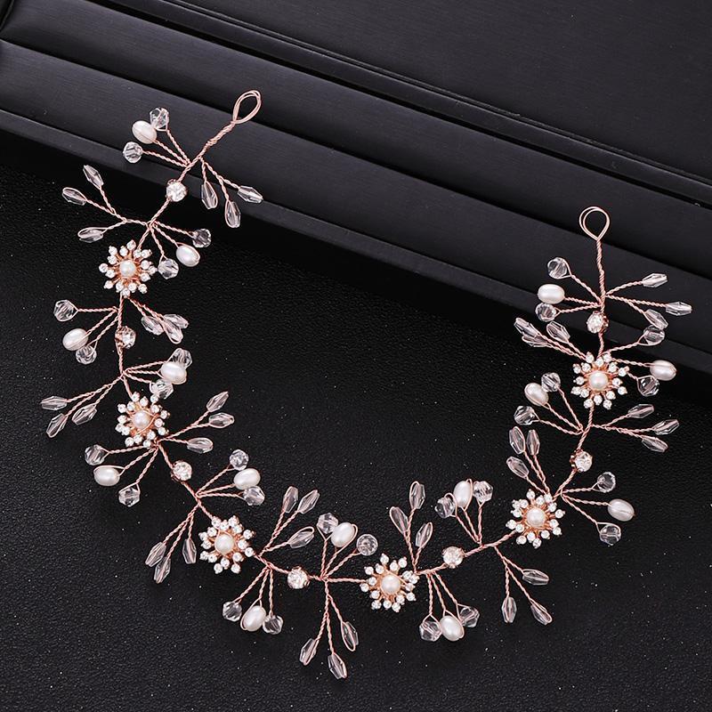Accessori nuziali dei capelli in oro rosa perla fascia per capelli copricapo da sposa Vite Foglia Gioielleria di nozze