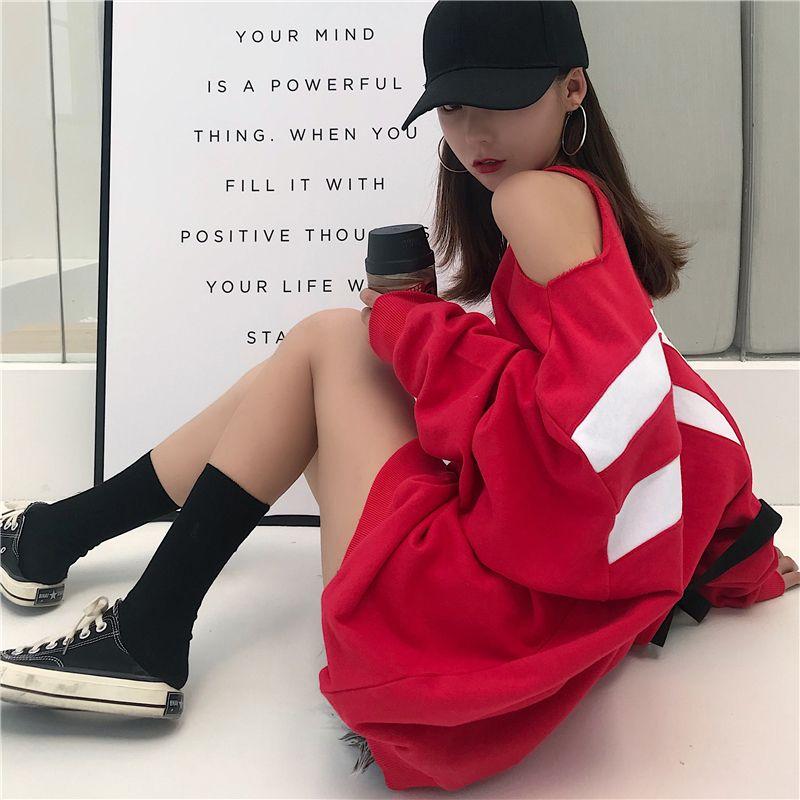 style automne longues marques de mode Sweat rouge Vêtements pour femmes lâche évider Sweats à capuche pullovers vestidos Femininos nouveau