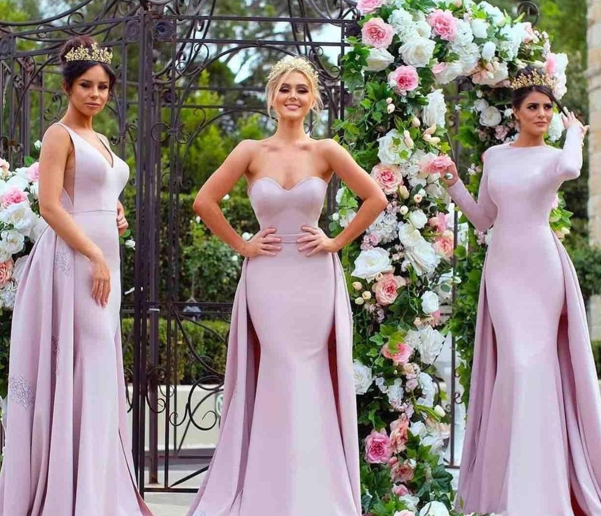 2021 светло-фиолетовый Русалка платья невесты Overskirt рукавов кружева аппликация Милая шеи V Jewel Длинные рукава Maid Чести платье