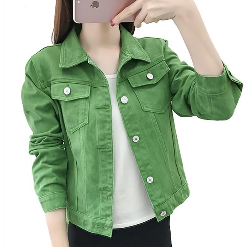 Jeans básicas Jacket Mulheres verdes 2020 Brasão Mulher do outono Denim Jean Womens Coats Jackets fêmea magro estiramento curto Feminina Roupas