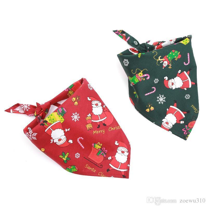 Pañuelo para perros perro casero de Navidad de la bufanda del babero lavable de algodón suave Santa Claus Impresión del perrito del pañuelo de la pajarita y estética para mascotas Accesorios DBC VT0994