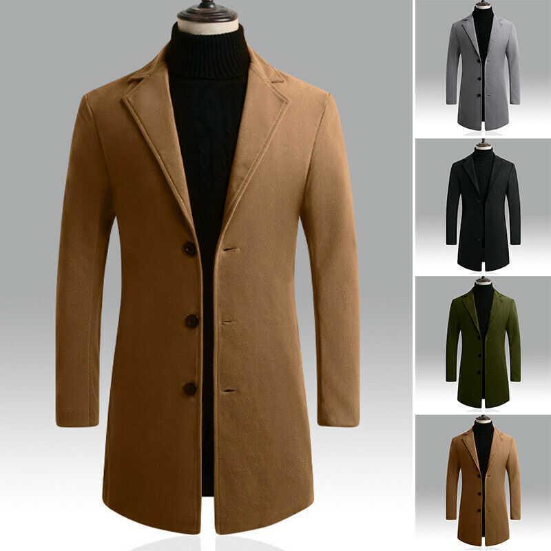 Sobretudo Trench Tops comprimento médio casaco de inverno dos homens longos da Quente Único Brasão Jacket Inverno Men Breasted Vintage