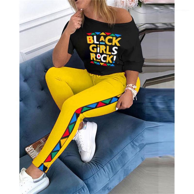 Roupa 2 Piece Set Verão Womens Designer Casual letra impressa Hip Hop estilo de moda Ternos Womens