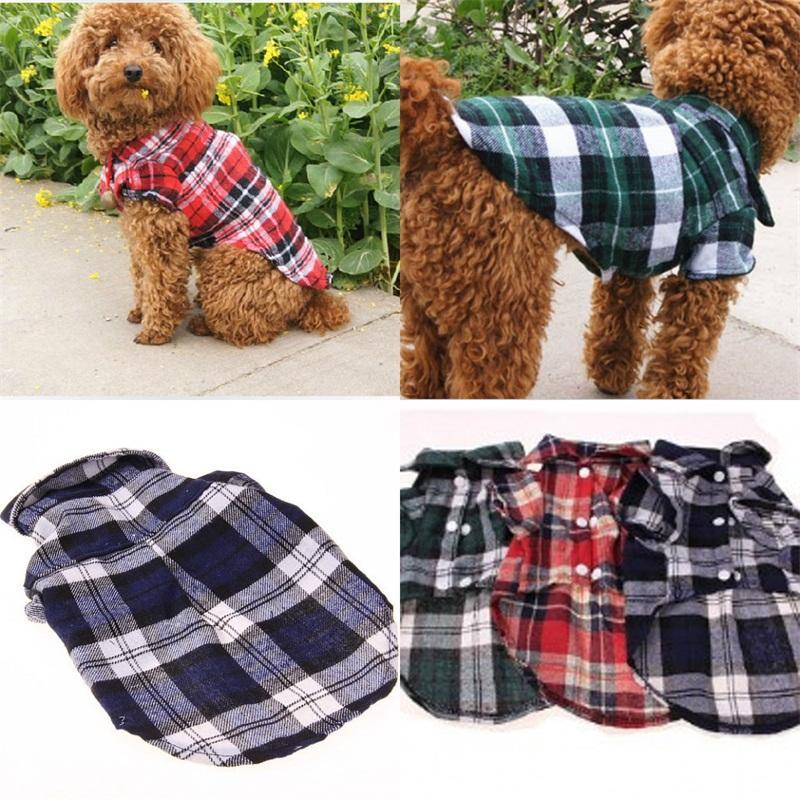 격자 무늬 귀여운 강아지 개 치엔 조끼 매력 개 의류 동물 셔츠 애완 동물 고양이 의류 얇은 영국 스타일 여름 4lq C2 공급