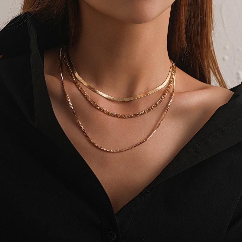 Gothic Punk Cuban Chain Choker Multilayer Necklace Collar Statement Women Men Boho Thick Chain Chunky Necklace Steampunk Statement Jewelry