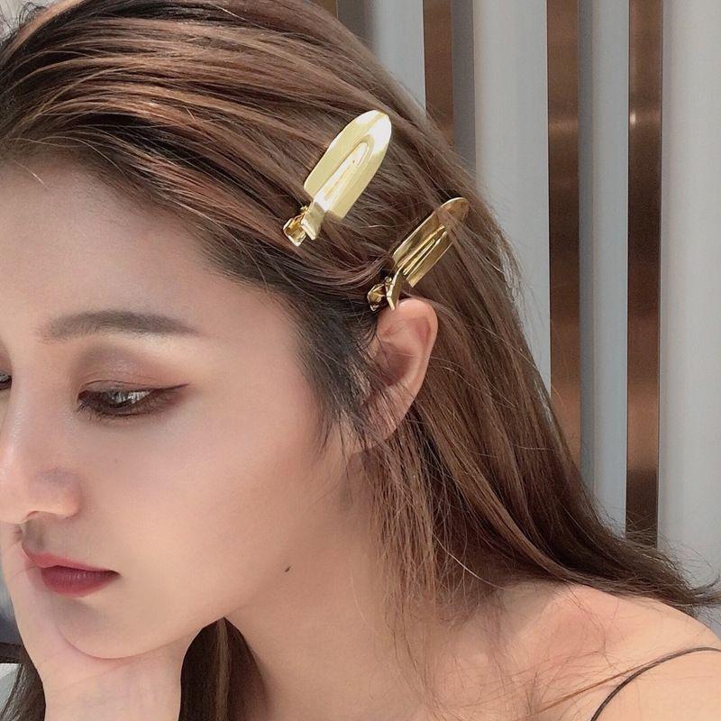 2020 estilo coreano simples dourados clipe personalizado ponta bangs clipe celebridade Internet brilhantes cocar cocar de meninas hairpin Fqige