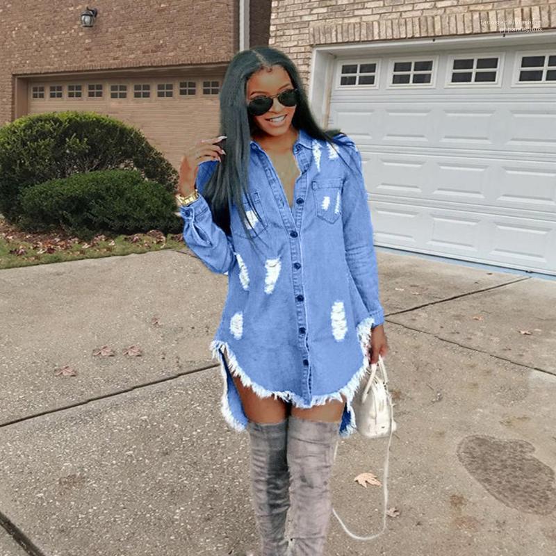 Jean azul camisa de vestir de primavera otoño rasgada de la borla Vestidos de diseño de las mujeres del dril de Hiphop