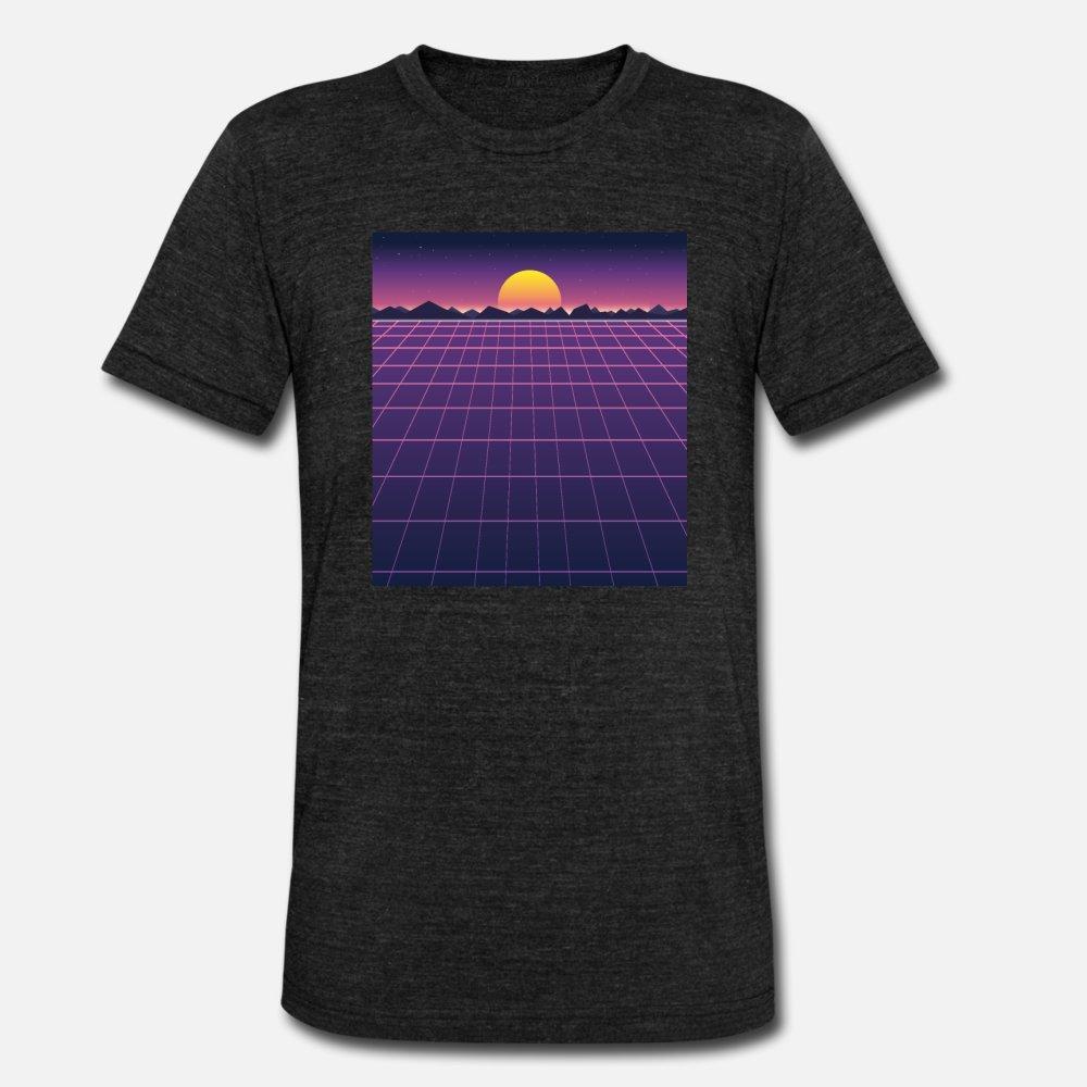 Retro Fundo futurista de 1980 estilo da camisa t homens desenho de manga curta em torno do pescoço de moda masculina gráfico camisa Primavera Original