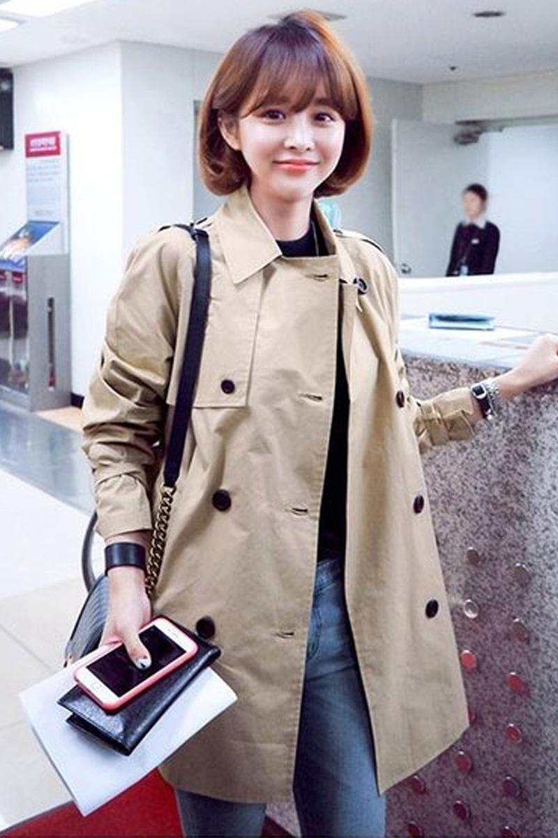 rompevientos mitad de la longitud de estilo coreano primavera 2020 nuevo estudiante elegante forman la capa de abrigo rompevientos poco de color caqui de las mujeres